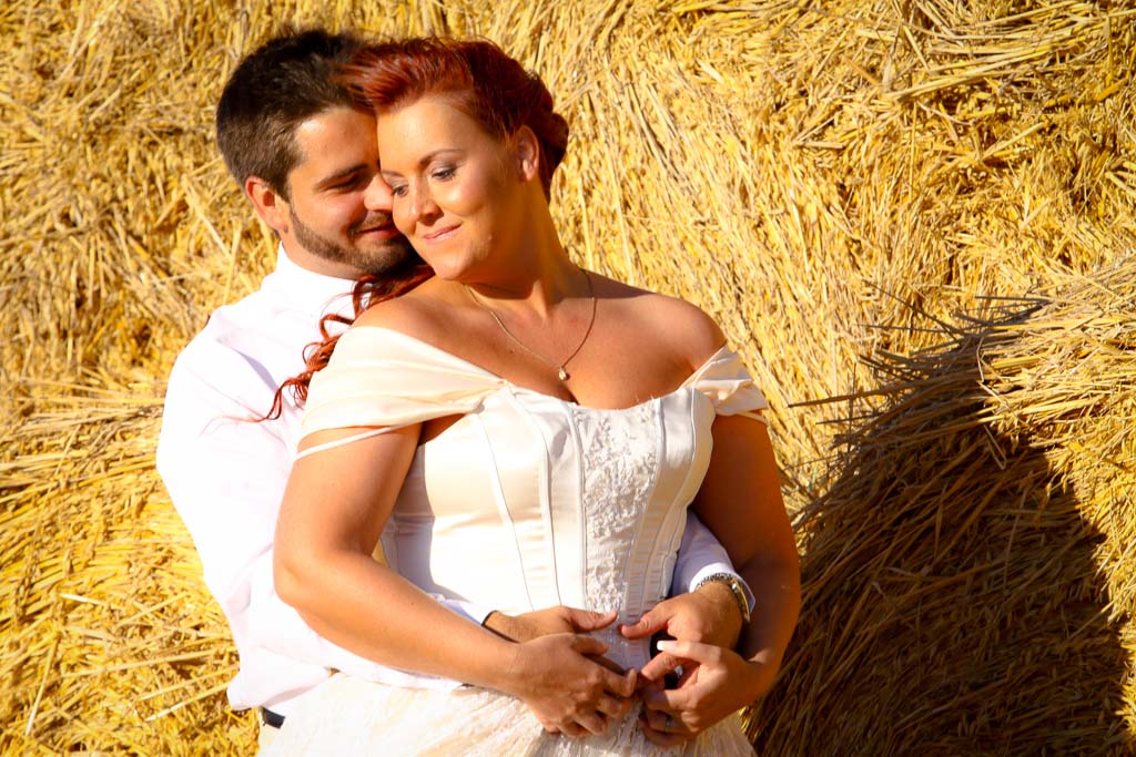 Couple and haystack
