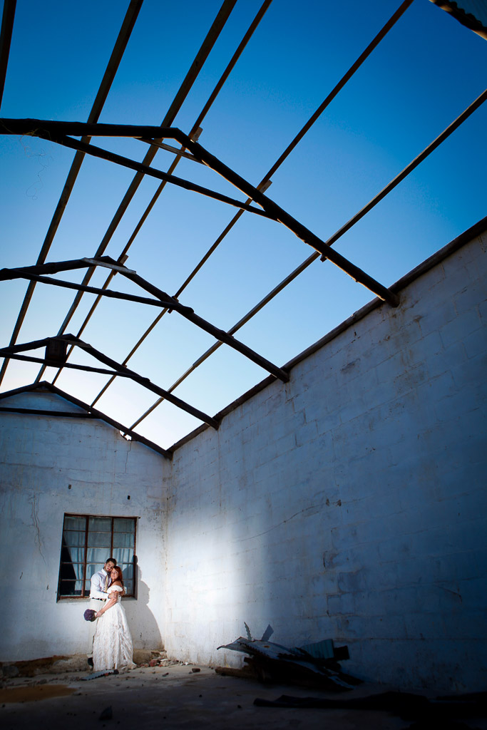 Couple in abandoned building